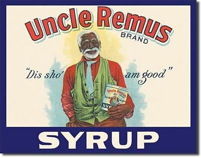 Uncle Remus Brand Syrup Dis Sho Am Good Black Americana Tin Metal Sign