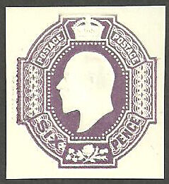 6D Purple King Edward Vii Unused Cut Square Cut Out
