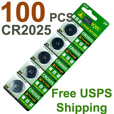 100 PCS CR2025 DL2025 Lithium Battery 3V Button Cell  - Free US Shipping