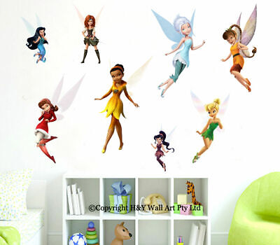 8 Pcs Disney Tinkerbell Fairies Wall Stickers Kids Nursery Wall Art Decal Mural