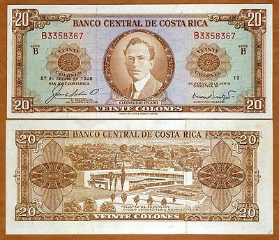 Costa Rica, 20 Colones, 27-8-1968, P-231, aUNC > Scarce