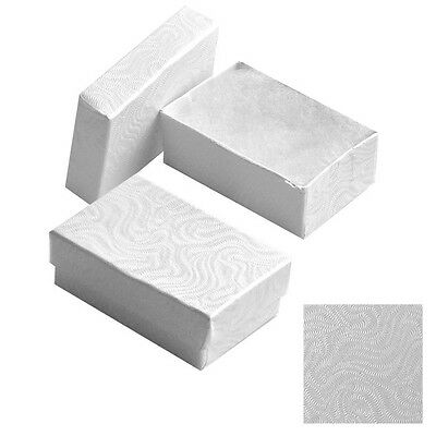 """New 50 White  Cotton Filled Jewelry Gift Boxes 2 5/8"""" X 1 1/2"""" Charm Pendent Box"""