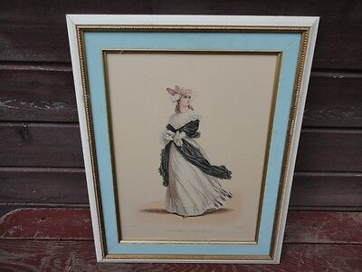 Antique Framed French Woman Portrait Costume 1789 Fashion Print Lithograph