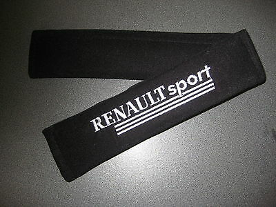 Seat Belt Harness Pads in Black with Renault Sport Logo in Silver (Clio, Megane)