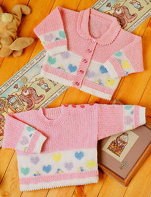 "Sweet Little Heart Baby Cardigan & Sweater Picot Edge 16"" - 22""  4 ply To Knit"