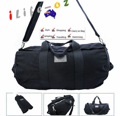 60CM 45L LARGE Canvas Carry on School Gym Travel Overnight  Duffle Bag BLACK