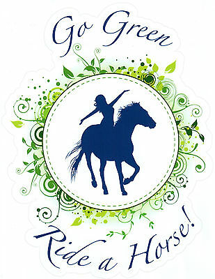 Med Go Green Ride Horse Rider Environment Eco Message Trailer Decal New Blue
