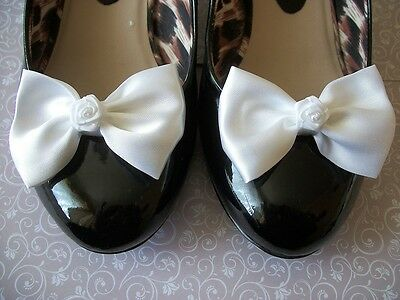 PAIR WHITE SATIN BOW RIBBON ROSE SHOE CLIPS 40s 50s VINTAGE STYLE GLAMOUR BOWS