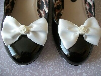 PAIR IVORY SATIN BOW RIBBON ROSE SHOE CLIPS 40s 50s VINTAGE STYLE GLAMOUR BOWS