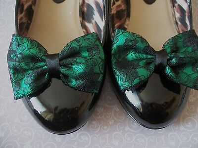 Pair Emerald Satin Black Floral Lace Shoe Clips Glamour Bows Retro Vintage Style