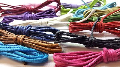15 Mtrs 1.8mm Waxed Cotton Thong Cords Thread Shamballa 15 colours x 1M - C0065