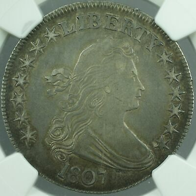 1807 Draped Bust Silver Half Dollar O-105, NGC AU Details - Improperly Cleaned
