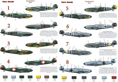 Messerschmitt BF109E  Euro Decals in 1/72 & 1/48scale