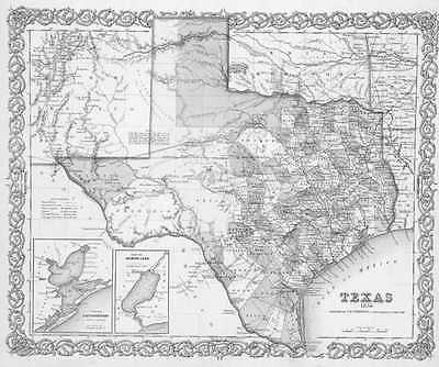 1856 Texas Map Tx San Saba Schleicher Scurry Shackelford Shelby Sherman County