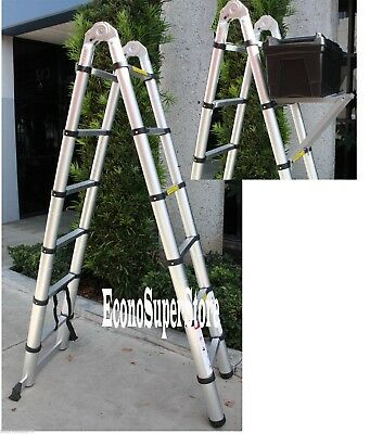 12.5 Ft A-Type Multi-Purpose Extension Aluminum Telescoping Ladder 330lbs