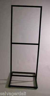 """Double Bulletin Sign Holder 22""""W X 28""""H Two-Tier Floor Store Matte Black NEW"""