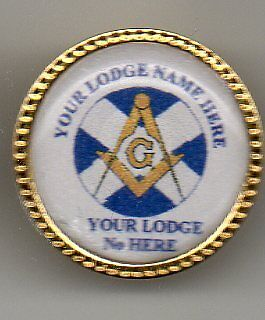 Masonic Pin Badge Personalised With Your Lodge Name/No.