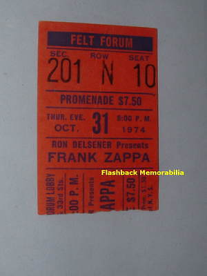 FRANK ZAPPA 1974 Concert Ticket Stub FELT FORUM MSG NYC The Mothers VERY RARE