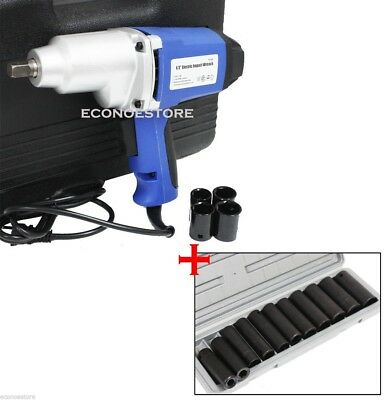 """7.5 Amp 1/2"""" Electric Impact Wrench 4 & Socket W/ Case + 12Pc Air Impact Socket"""