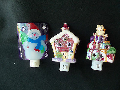 Pretty Christmas Night Lights & Covers!  3!  HOUSE!  PRESENTS!  SNOWMAN!