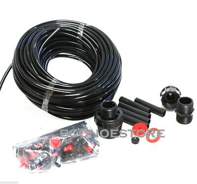 75FT Drip Patios Hydroponic Greenhouses Water Hose Irrigation Kit Plants Garden