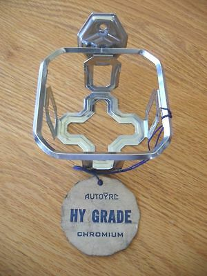 VINTAGE NOS 1940's AUTOYRE Chrome Glass Tumbler Cup Holder Wall Mount Bathroom