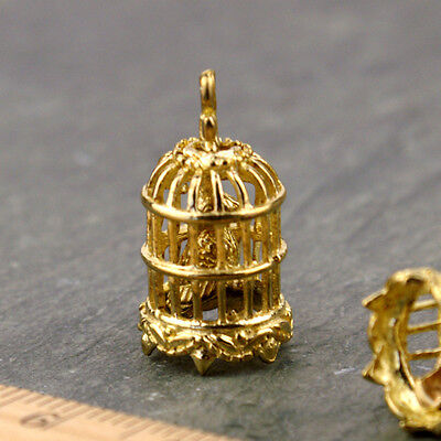 Solid Brass Bird Cage Pendant Charm be45(1pc)