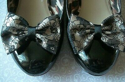 CHAMPAGNE SATIN & BLACK FLORAL LACE BOW SHOE CLIPS 40s 50'sVINTAGE STYLE WEDDING