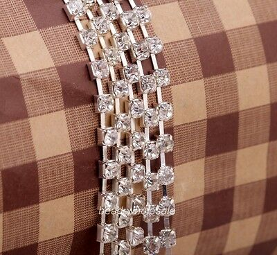 New 1 Meter AB Silver Trim Clear Crystal Rhinestone 4mm Close Chain