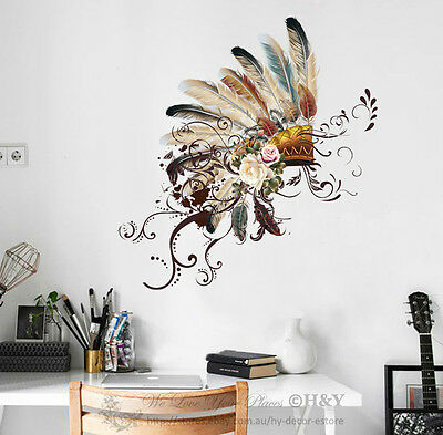 Feather Hat Wall Decal Art Vinyl Nursery Stickers Removable Baby Decor DIY Gift