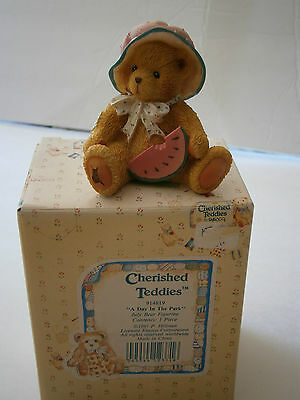 1993 NIB Enesco Cherished Teddies A Day In The Park July Bear Figurine 914819