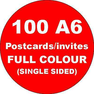 100 A6 Single Sided Full Colour Cards Printed on 350gsm Card