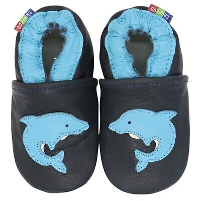 carozoo dolphin dark blue 2-3y soft sole leather toddler shoes