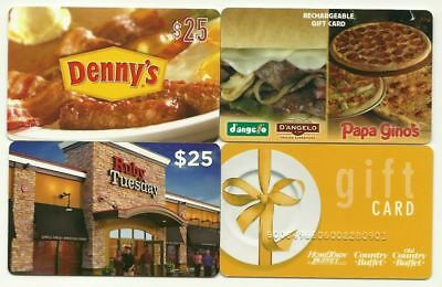 Lot of (4) Restaurants Gift Cards No $ Value Collectible