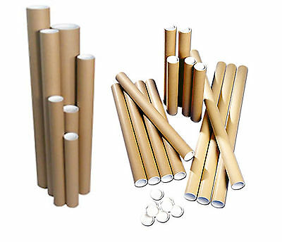 "25X 640mm x 50.8mm (25"" x 2"") Postal Tubes Packing Tubes + End Caps Cardboard"