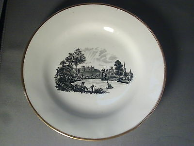 Antique 19th c. English Pearlware Staffordshire Black Transfer Porcelain Plate