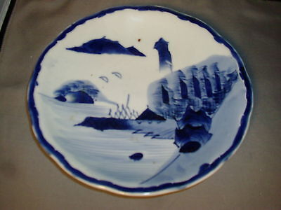Antique Chinese Blue & White Porcelain Plate Charger w/ Landscape Export 19th c.