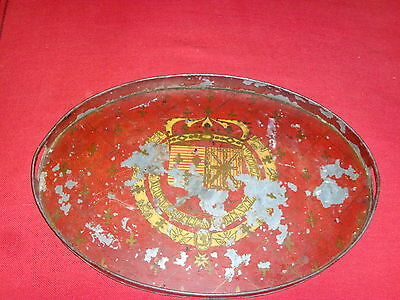 Large Antique Paint Decorated Tole Tray Armorial Crest 19th century