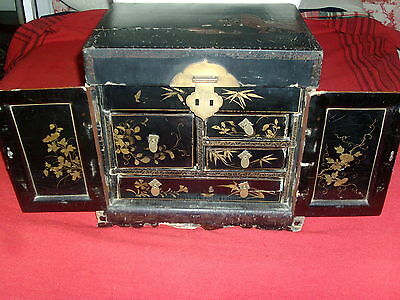 Small Antique 19th century Chinese Lacquer Table Chest Wooden Cabinet Jewelry