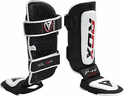 RDX Leather Kids Shin Instep Pads Junior MMA Leg Foot Guards Kick Boxing Youth