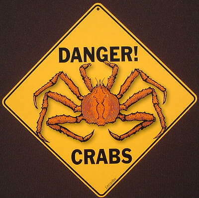 CRAB  CROSSING Sign aluminum print decor novelty home fish picture crabs signs