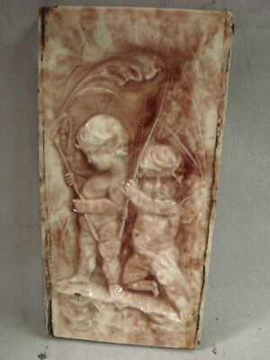 "Huge Antique Late 1800's Glazed Tile With 2 Cherubs 12"" X 6"""
