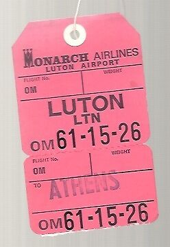 Monarch Airlines Vintage Luggage Label Bag Tag Luton - Athens