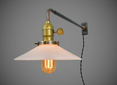 Vintage Industrial Wall Mount Light - OPAL SHADE - Machine Age Milk Glass Lamp