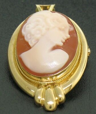 14k Solid Yellow Gold Framed Shell Portrait Cameo Useable as Pendant or Brooch
