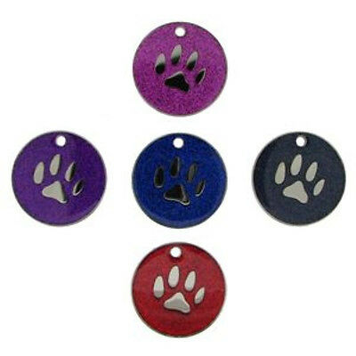Glitter Pet Tag Disc Dog Various Designs FREE ENGRAVING FREE DELIVERY 25mm
