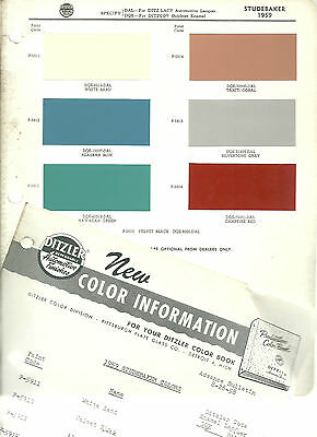 1959 STUDEBAKER Color Chip Paint Sample Brochure/Chart: PPG, Ditzler