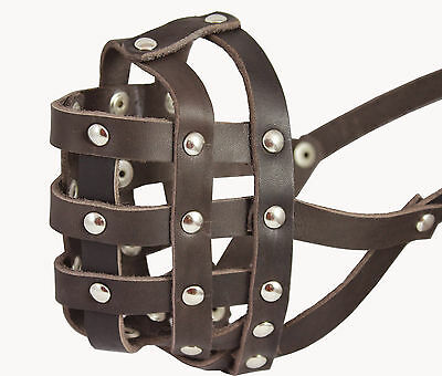 "Genuine Leather Basket Dog Muzzle 13""- 2.5"" snout size Boxer English Bulldog"