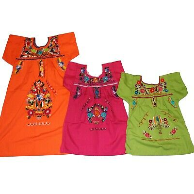 Girls Assorted Colors Peasant  Embroidered Mexican Dress Sizes 1 - 10 years