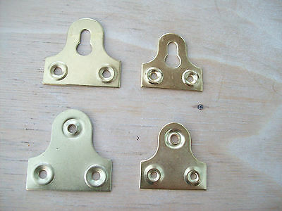 10 x 38/32mm PICTURE MIRROR FIXING HOOKS PLATES FRAME HANGING HANGER BRASS